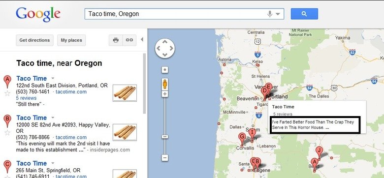 """Taco Time. . Google - Teen time, near Oregon Taco """"ME v 122nd South East Division, Portland, OR 5 reviews Still there"""" - Taco 1' Ime v 12000 SE Bind Ave #2093,"""