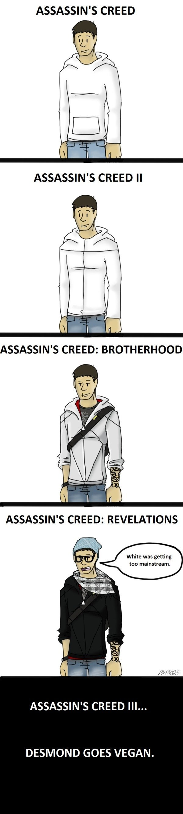 Tags are . Where all the KFC at?. ASSASSIN' S CREED q - ' White was getting I too mainstream. 3 jit- ASSASSIN' S CREED III... DESMOND GOES VEGAN.