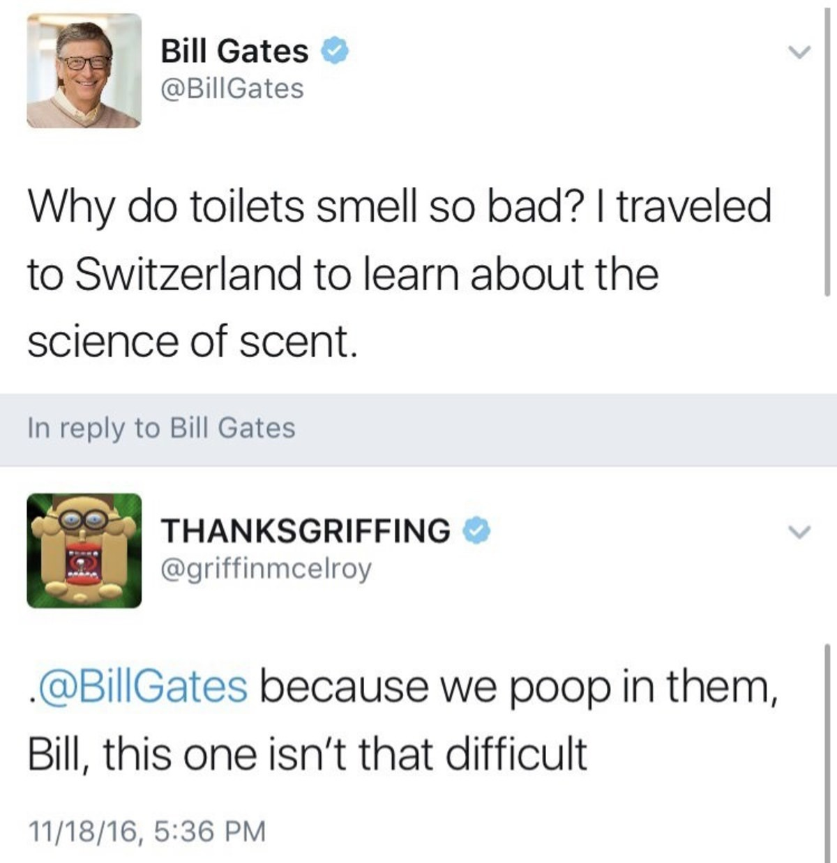 Take a guess. . Bill Gates (ti) k @Billgates l/ l/ ' do toilets smell so t: xnyd'? I traveled to Switzerland to learn about the science of scent. In reply to Bi
