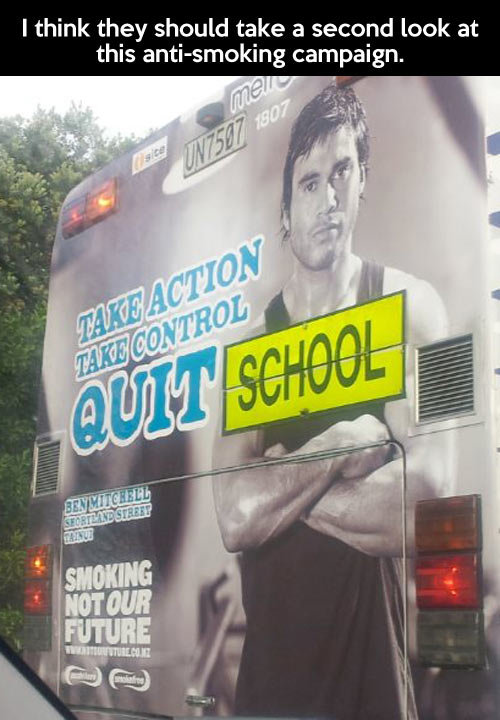 Take action, take control. Take action, take control… . I think they should take a second look at this campaign.. cant argue with that