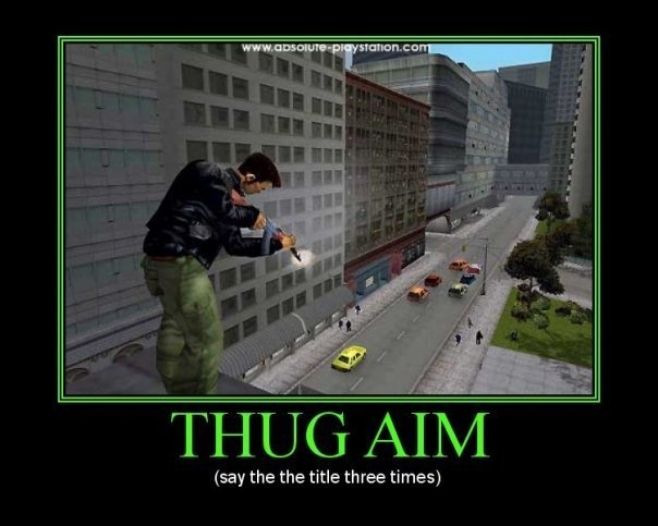 Take aim. ~. say the the title three times). ohoo its funny because it sounds like the game oooh