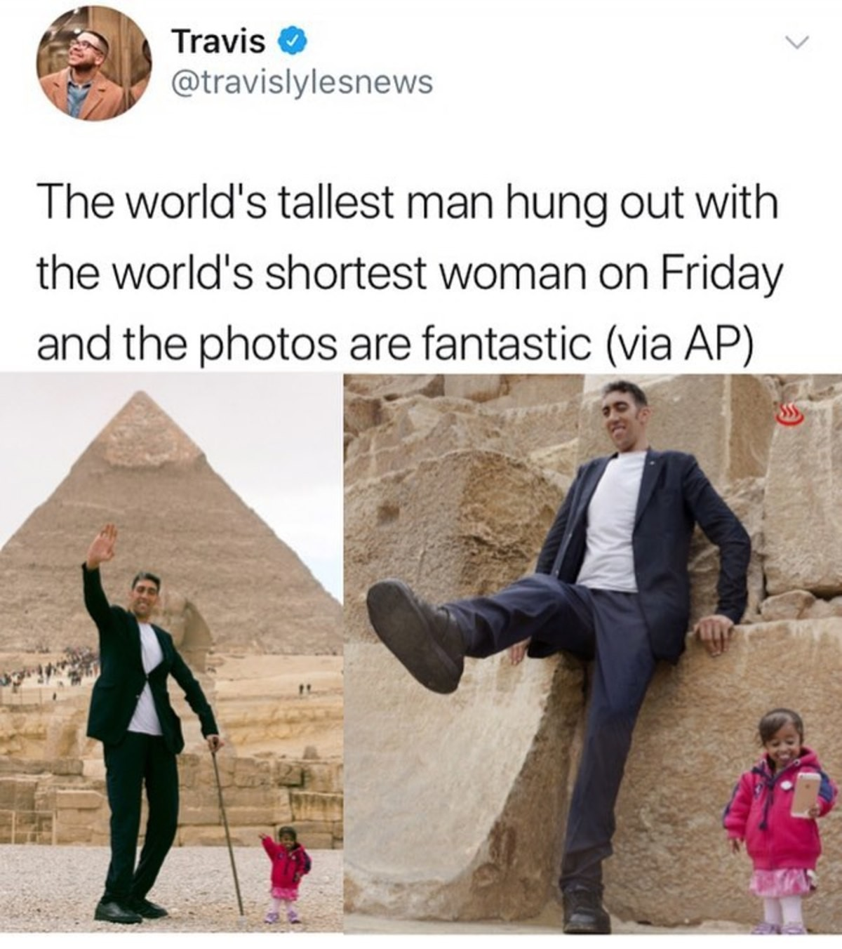 """Tallest and Shortest. . Travis 'ici', world' s tallest man hung '' . with. 6' vs 5'11"""""""