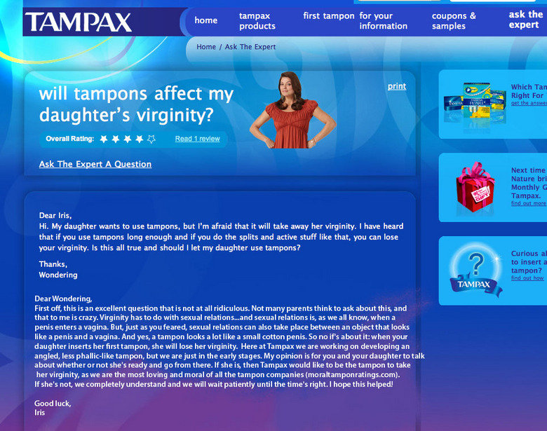 "tampax. . tampax first tampon far your coupons as ask the home products information samples expert omr t"" Reddlt' Ask The Expert A Question Dear Iris, Hi. My da"