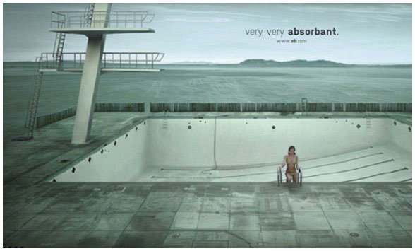 Tampon ad. So much absorption.. I thought she was in a wheelchair at first.. . .