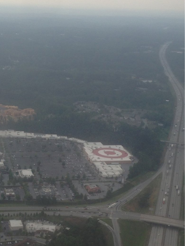 Target store has a giant Target symbol. on the roof.. Aloha snackbar