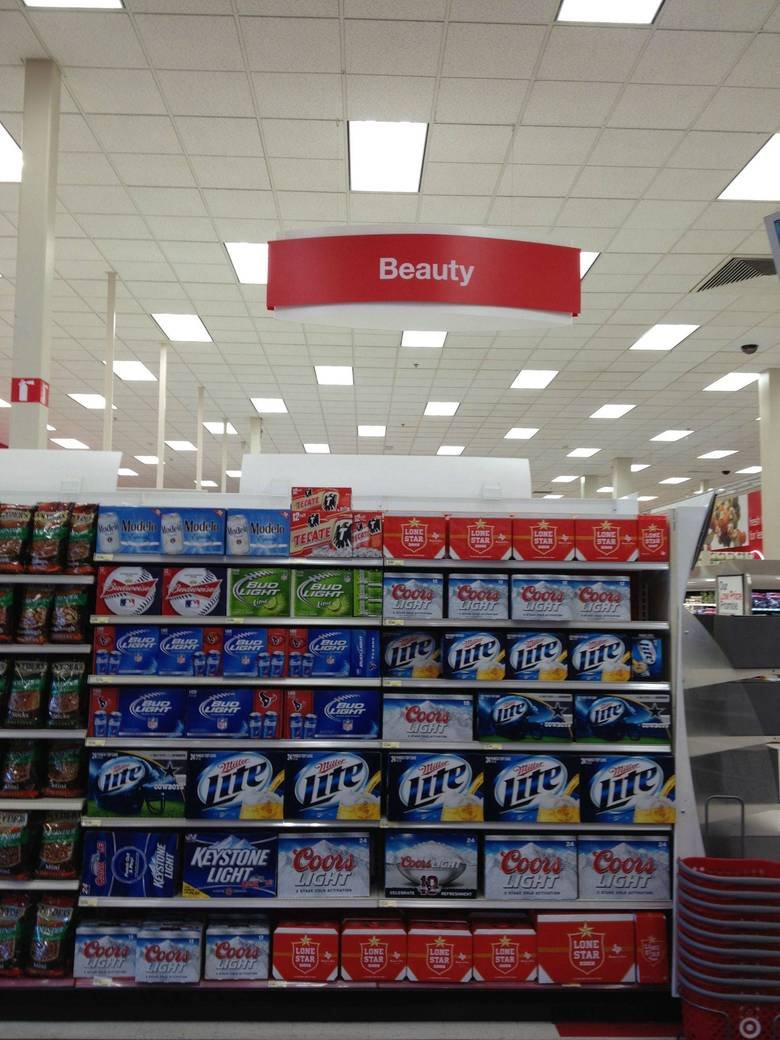target's got the idea. .. I don't see any beautiful beers, just ugly cans of piss.