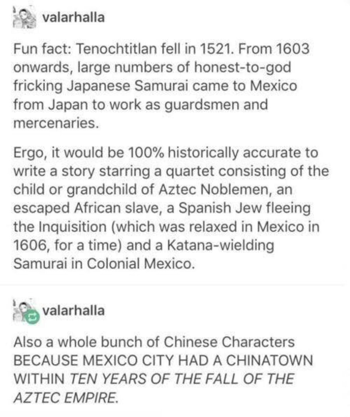 Tenochtitlan. .. I must say I had no idea that happened