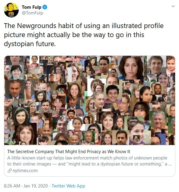 That dystopia is getting closer. .. >Excuse me sir, we happened to catch a photo of you in public that matches this 144p compressed JPEG we have of a suspected terrorist from a decade ago. We'r