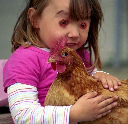 That is just terrifying.. The chicken looks awesome though....
