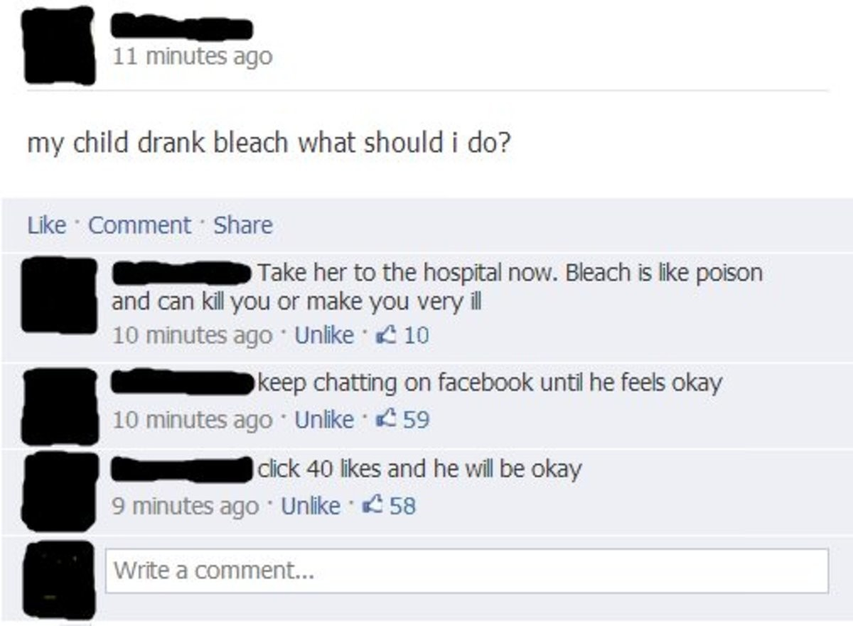 The appropriate response. . 11 minutes ago my child drank bleach what should i do? Like Comment . Share lellel. llet Take her to the hospital now. Bleach is lik