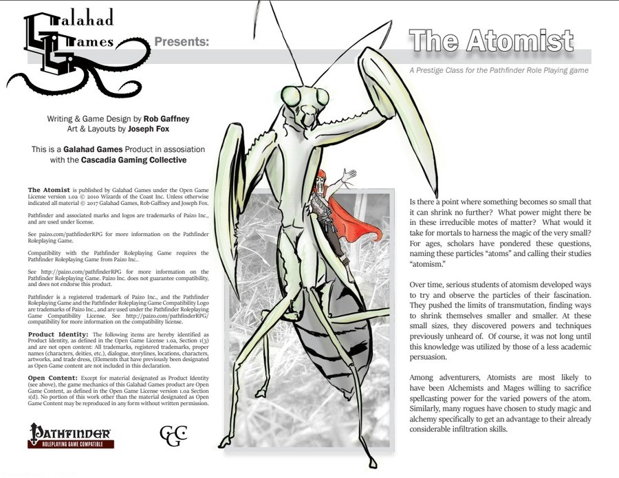 The Atomist by Galahad Games. Third Party Products list~ also, drivethrurpg link: it's pay what you want, but they deserve your money. join list: ThirdPartyProd