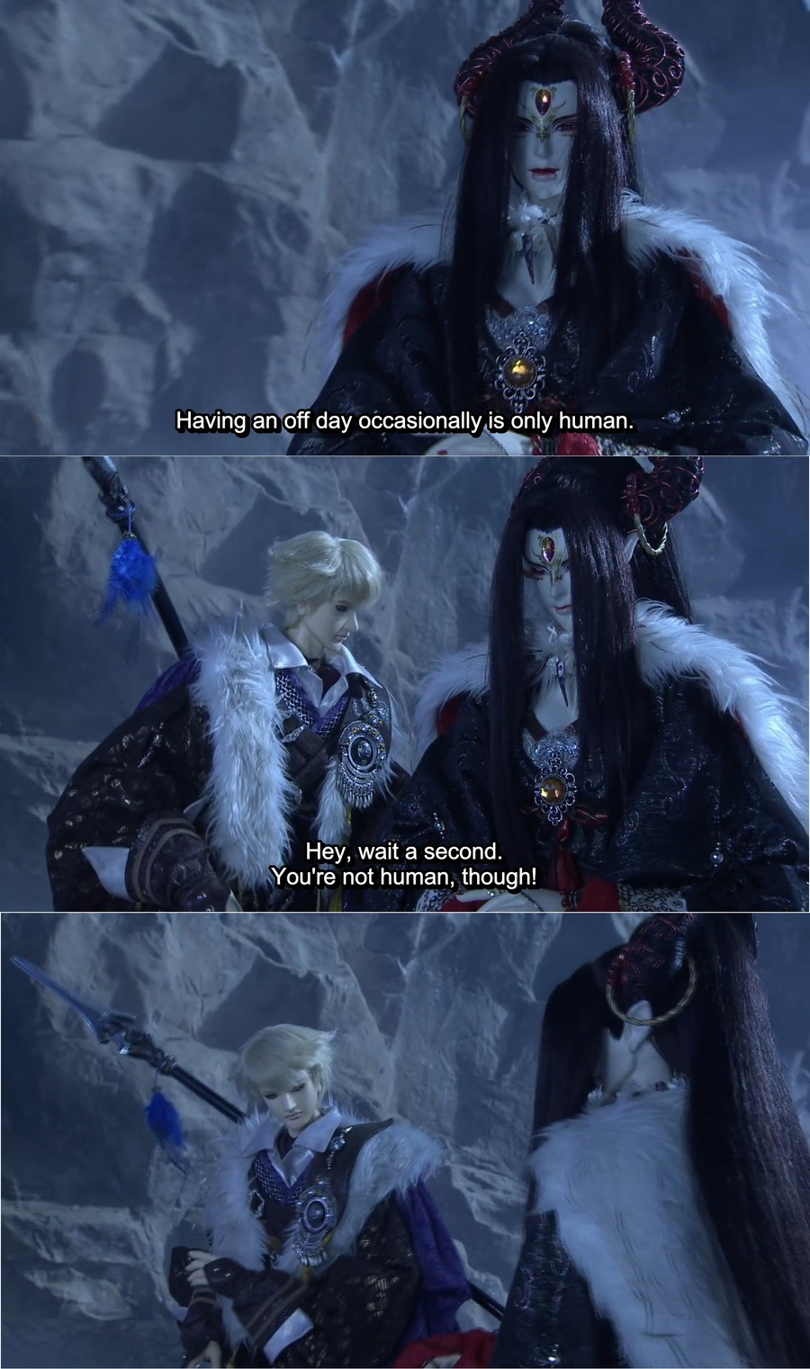 The Audacity of This . Thunderbolt Fantasy.. Sauce is Thunderbolt Fantasy, it's actually pretty good. The soundtrack's done by Hiroyuki Sawano. It's about legendary swords n stuff.
