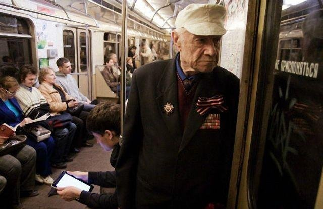 The audacity... This breaks my heart, as a Russian veteran has to stand because nobody gets up for him. found this on the internet, guessing he is Russian based