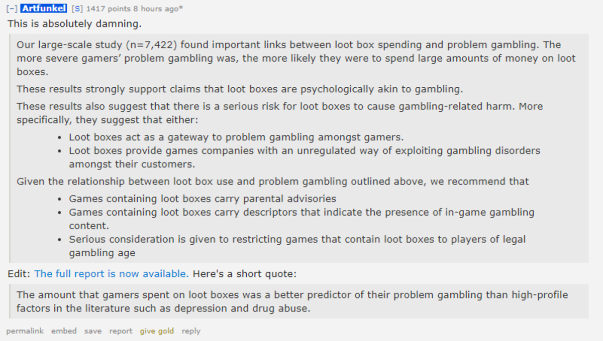 """The Australian parliamentary committee on Loot boxes. Tl;dr: """"Loot boxes provide games companies with an unregulated way of exploiting gambling disorders&q"""
