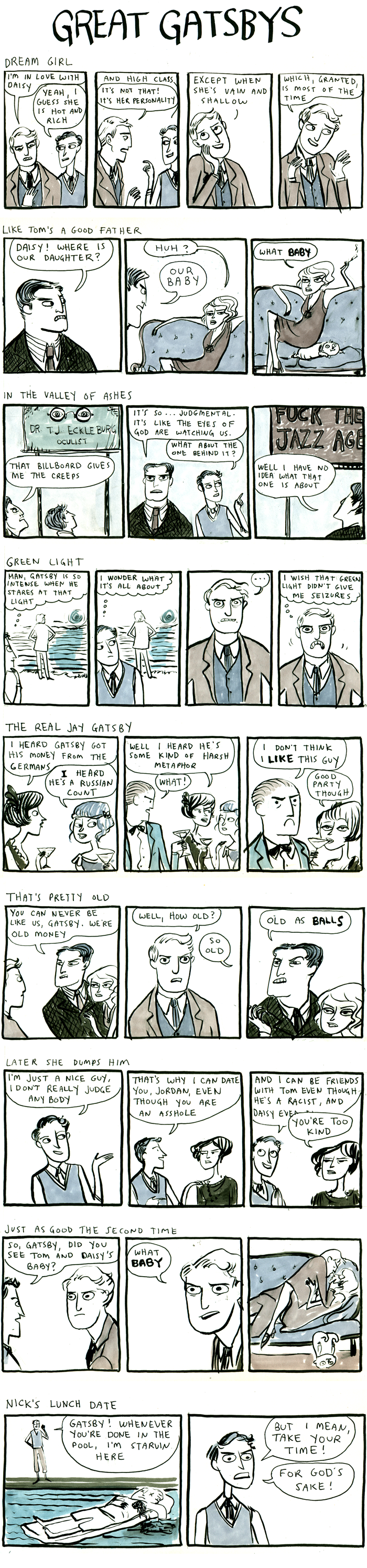 The Avarage Gatsby. This is from Hark! A Vagrant, possibly my favorite comic out there... Good post, old sport.