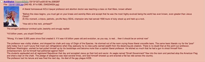 The Average Conservative. Found on /pol/, made me lol.. A liberal homesexual ACLU lawyer and abortion dcotor was teaching a class on Karl Marx, lincon atheist B