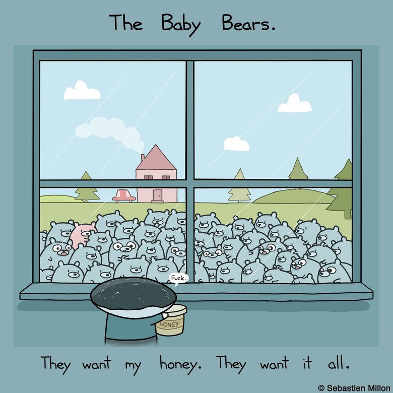 The Baby Bears Want My Honey. Have I no shame? flaunting my honey like that….. One of these things is not like the other
