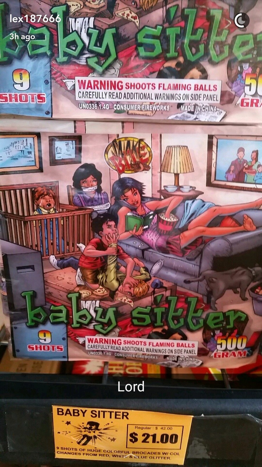 The baby sitter firework. Saw this at a fireworks stand and made me laugh how China dippicts Americans on their fireworks!.. Completely inaccurate. The house isn't messy enough.