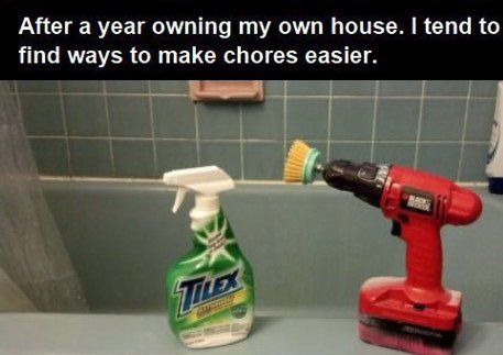 The bachelor life…. The bachelor life… . After a year owning my own house. I tend to find ways he make chores easier.. Thats genius!