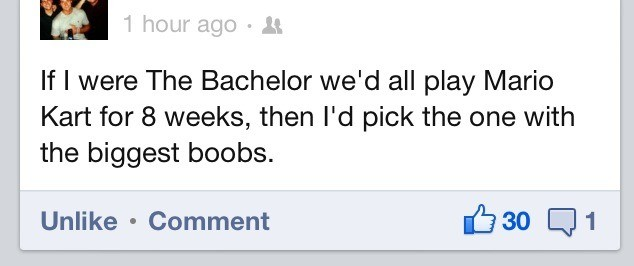 The Bachelor. .. What if she has huge boobs but an ugly face
