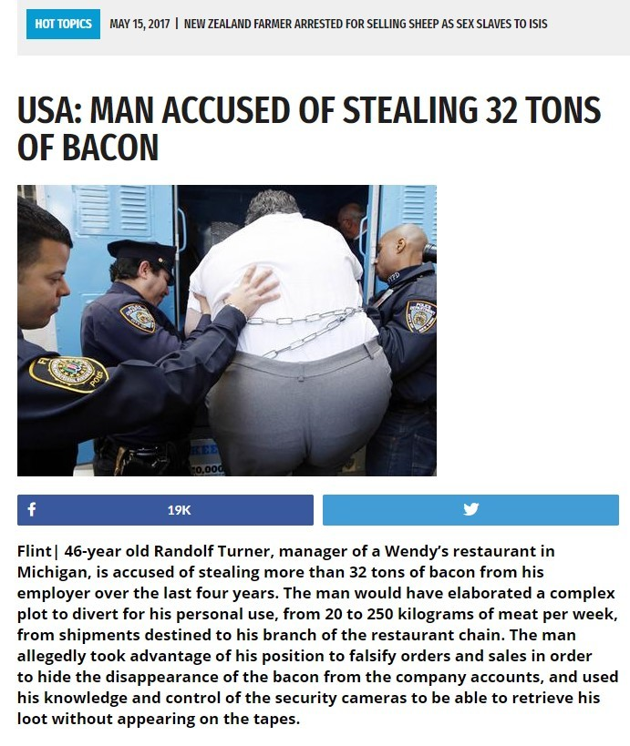 The Baconator. Dude's facin' 88 years in prison for it... LOL. HUT TIRES ' 15, 2017 I FARMER ARRESTED Fehl SHEEP AS SEX SLAMS TO ISIS USA: MAN ACCUSED OF STEALI