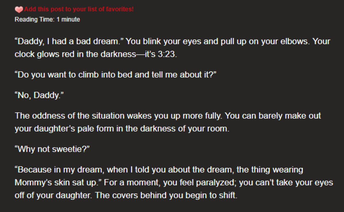 The Bad Dream. join list: HalloweenCreepyPastas (442 subs)Mention History.. because the mother was woken up by the conversation. debunked