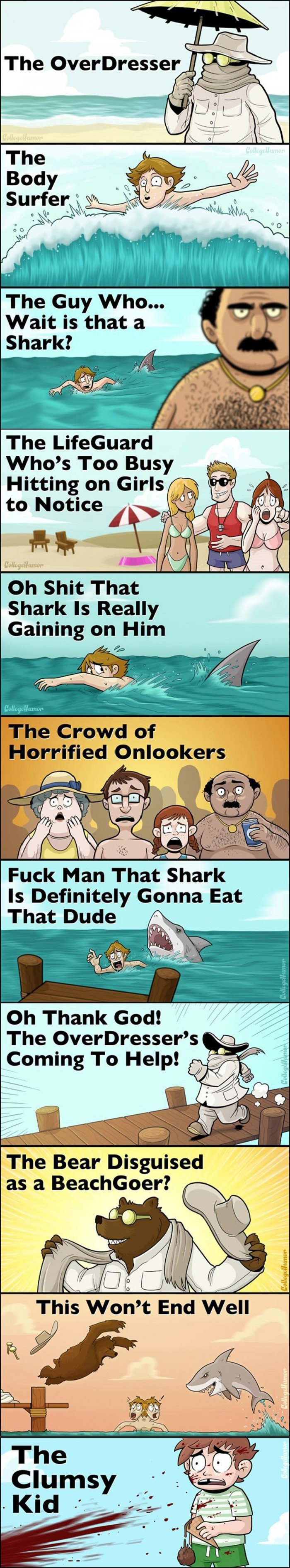 The beach goers. . The Guy Who... Wait is that a r Shark? The Lifeguard Who' s Too Busy Hitting on Girls Shark Is Really Gaining on Him inital T] Fuck Man That