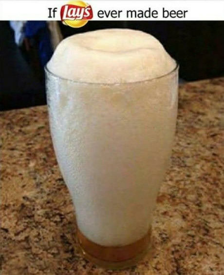 The beer. . If I ,,ts/!, i ever made beer. But beer doesn't need pillowy packaging to prevent its delicate goodless from being crushed...
