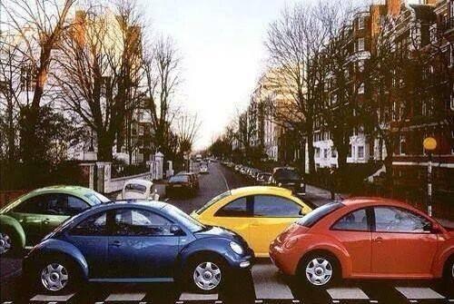 The Beetles!. VW beetles crossing the road like The Beatles did.