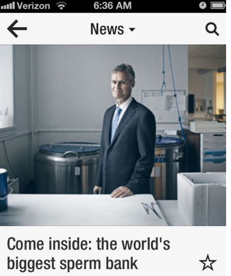 The best caption. Boobs for you . Come inside: the world' s biggest sperm bank. the world's biggest sperm bank, otherwise know as your mother