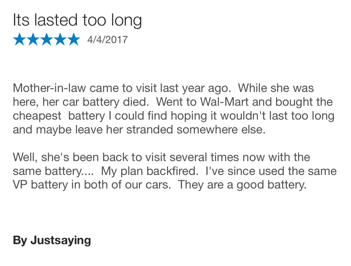 The best car battery review ever. .. idoit your suposed to jump the battery and then send her on her way.