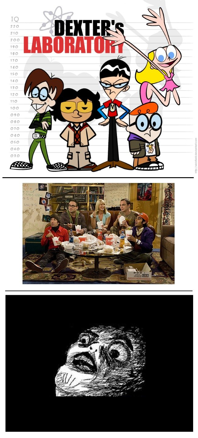 The Big Bang Theory = Dexter Laboratory. Lots of white space, cause YOU!. flan. insert your face below when you realize that Dexter is Leonard and his sister Dee Dee is penny