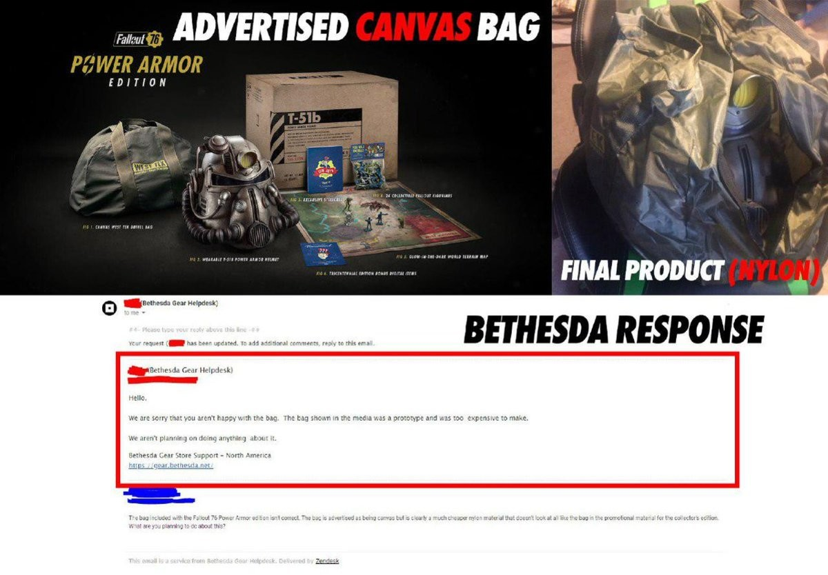 The bluntness of Bethesda's response is awe-inspiring. .. That's illegal. Like, 100% illegal. There are laws against blatant false advertising, and this is textbook false advertising.