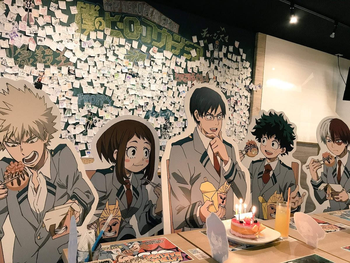 The bnha character standees at Collabo Cafe. .. WHERE THE IS MY FROPPY STAND IN!?!?!