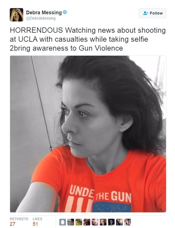 """The Bodies Aren't Even Cold. . HORRENDOUS Watching news about sheeting at UCLA with casualties while taking seffie wring awareness he Gun Violence. """"uh oh a tragedy... dont forget about me today though guys"""""""