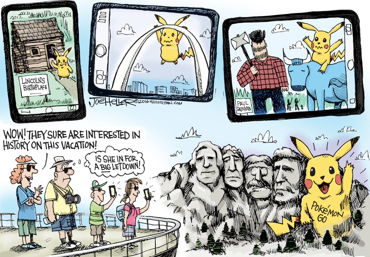 the boomer fears the pokemon go creature. .. Is it a law that political cartoonists suck at drawing?