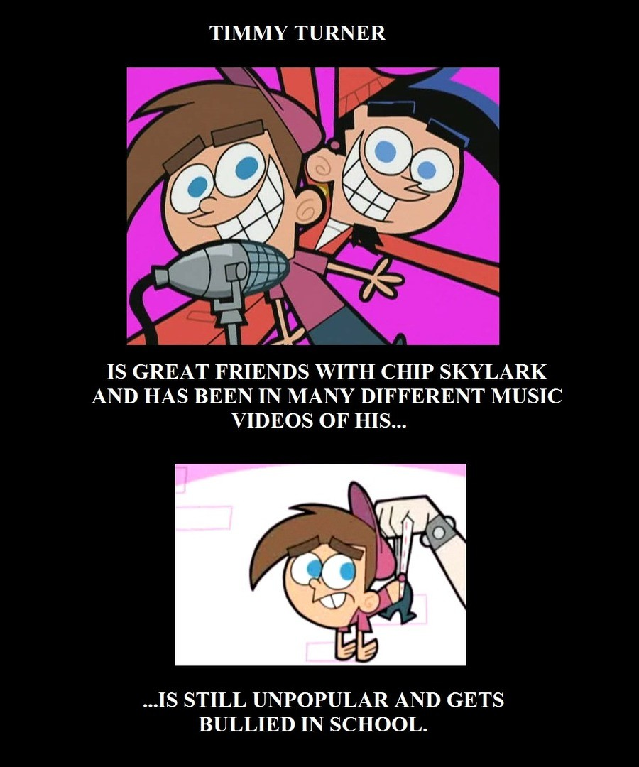 The boomerANG tho. . TIMMY TURNER IS GREAT FRIENDS WITH CHIP SKYLARK Ali' D HAS BEEN IN' MANY DIFFERENT MUSIC VIDEOS OF HIS... IS STILL UNPOPULAR AND GETS BULLI