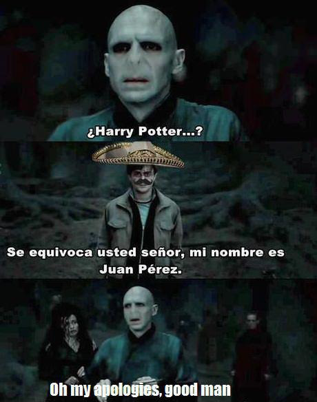 """The boy who lived. Puta madre! Gracias! Someone posted this on fb, i thought twas funny.. Be usted shai"""" , mi numbre as Juan Fire's. III: iii, ' i' is, gnarl ma"""