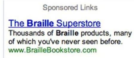 The Braille Superstore. . Sponsored Links Thousands of Braille products, may of which you' never seen before. cnm