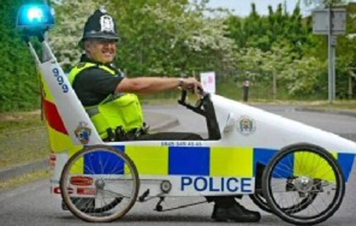 The British police is starting to save on fuel.. .. OI MATE, WHERE'S YOUR WHEEL LICENSE!