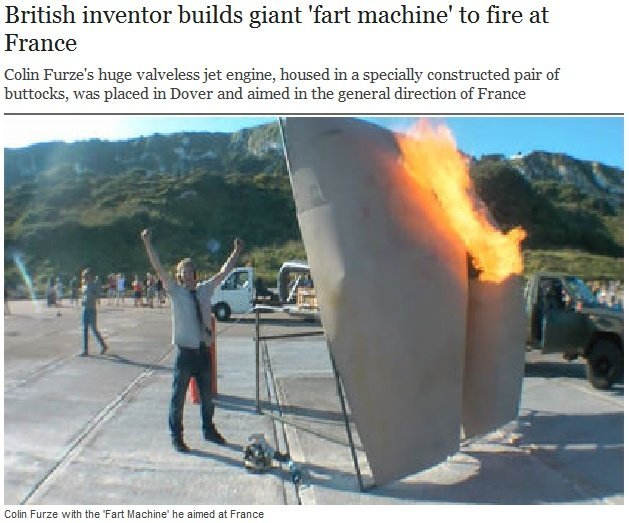 The Brits Are at it Again. . British ' lrlrl builds giant 'fart machine' Sttill' at France Cebu Flu' ' s huge wireless jet eugine, housed in a constructed pair