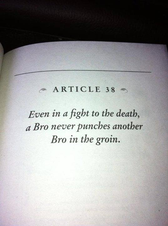 """The Bro Code. . Even in a fght to the deatl,.: -""""fa Bro in the groin. W. The good old Bro-code."""