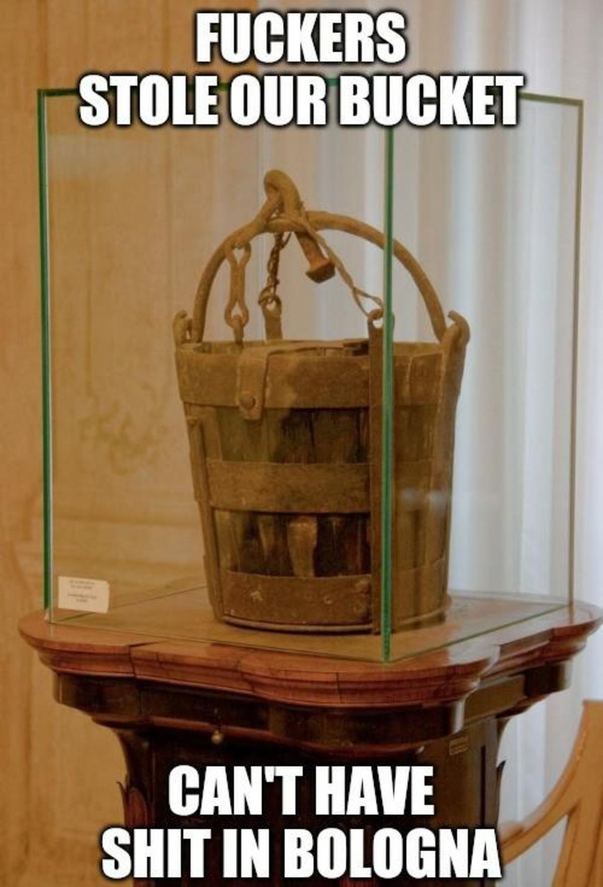 The Bucket War. .. The original Bolognese sauce bucket