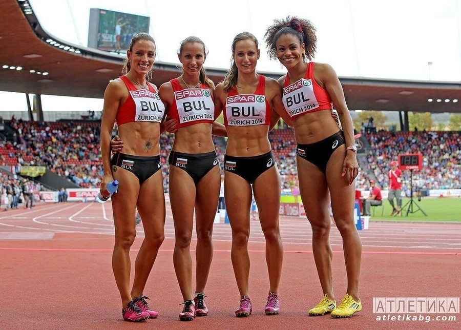 The Bulgarian 4x100 relay team. .. the left girls belly button looks like when you shoot the walls in half life 2