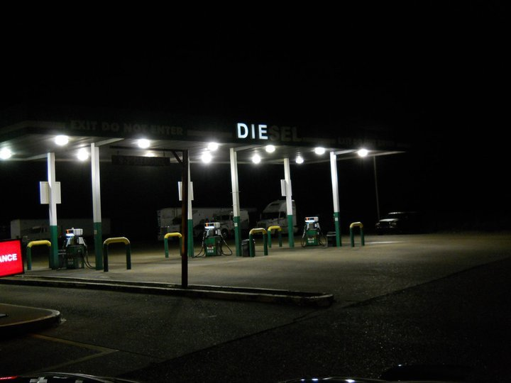 """The creepiest gas station on earth. .. all it says is """"the"""" in german. not creepy at all"""