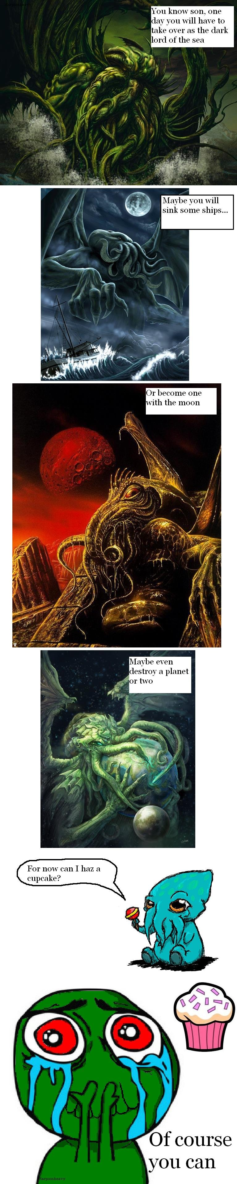 """The Dark Lord Cthulhu. Oc by me. Found all the pictures on the Interwebz except the last one in which I made.. on know son. one have """" e you will sink sohne shi"""