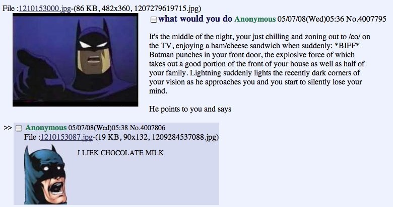 """The Dark Milk Rises. . Cl what would you do Anonymous U' 5:"""" U' 7:"""" U' E (Wed) 05: 36 It' s the middle of the night, your just chilling and zoning out to Eco! o"""