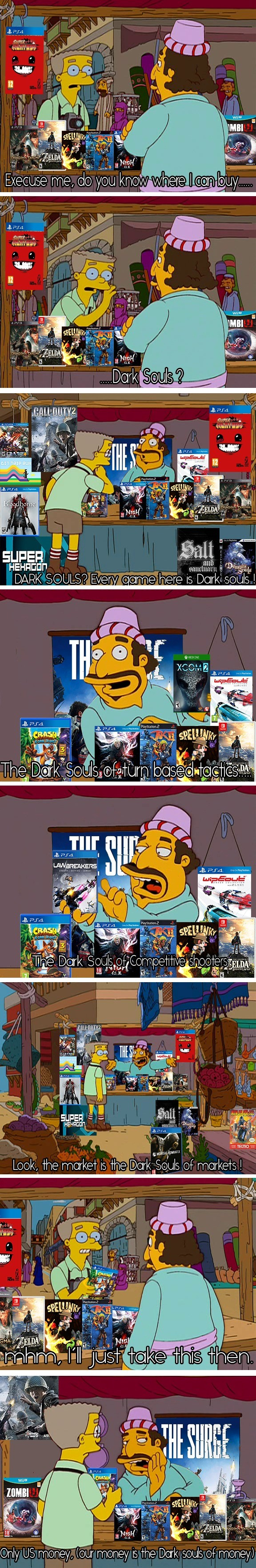 the dark souls of memes. for those who don't get it, it's about how gaming journalists compare every hard game (or any game they suck at it) to dark souls. DARK
