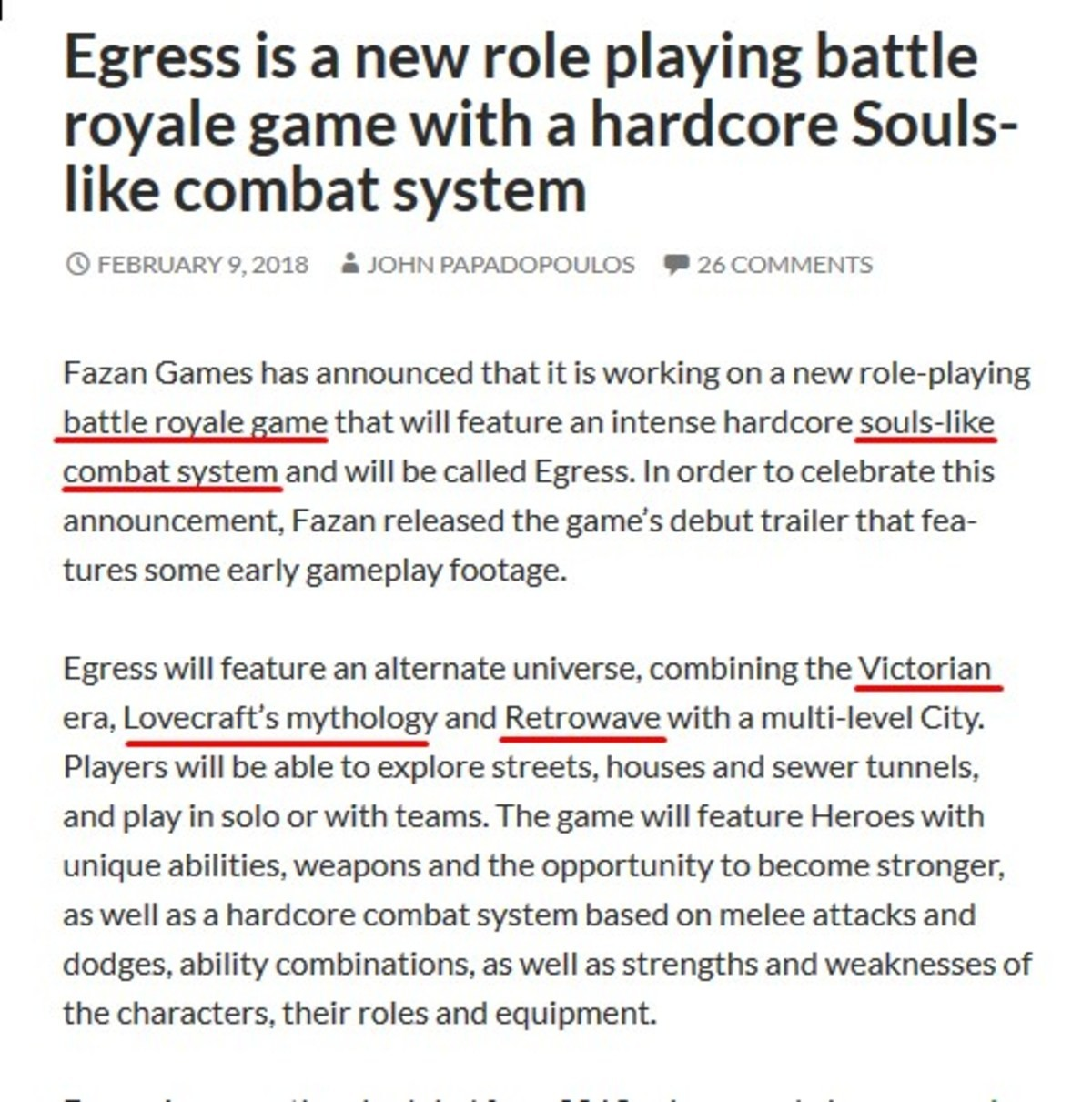 The dark souls of the current trends (?). . Egress is a new role playing battle royale garret with aiit hardcore Souls- like combat system i) FEBRUARY 9, 2018 t