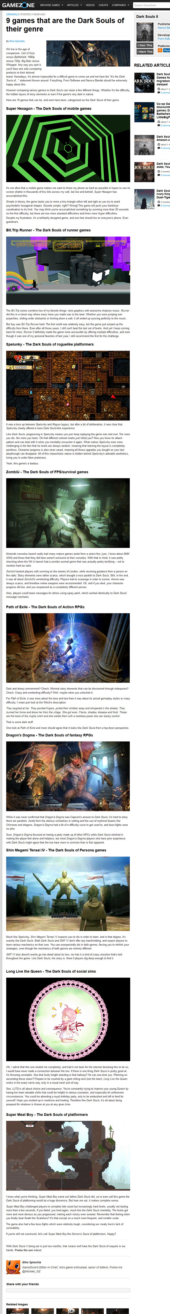 The Dark Souls of.... . GAMEZ NE 9 games that are the Dark Souls of their genre Publish: mm in Devalue Flam son. RELATED ARTICLE Hymn; versus new Whopper Aeou s